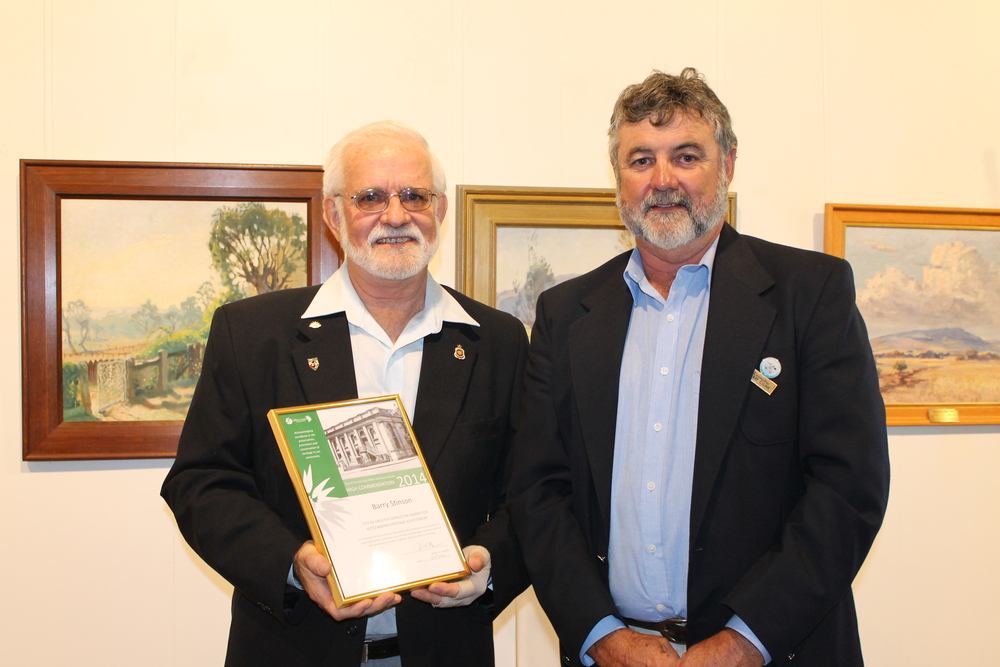 Barry Stinson was awarded a high commendation for Outstanding Heritage Achievement in last year's Heritage Awards. He is pictured with Councillor Jerry Clune.