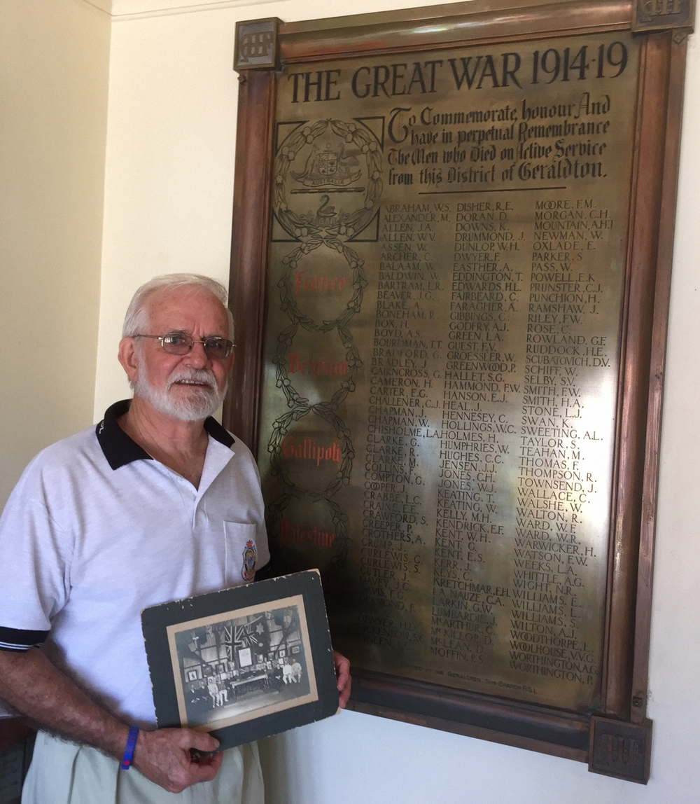 Birdwood Military Museum curator Barry Stinson with the RSL Club's Roll of Honour.