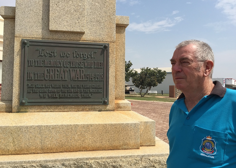 Geraldton RSL Club president Ross Davies next to the city's World War One Memorial