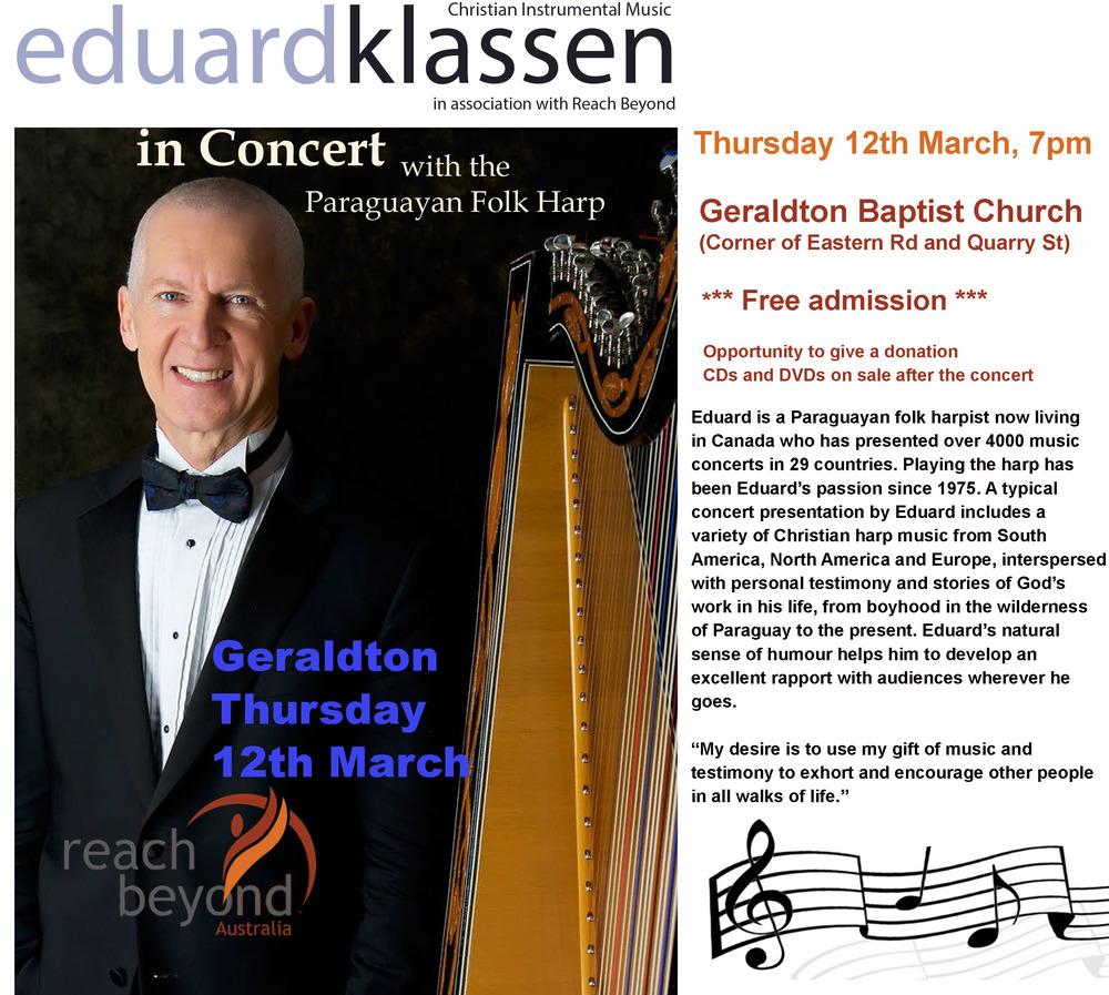 Eduard Klassen Concert - Paraguayan folk harpist