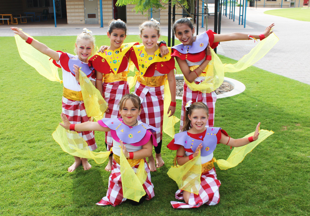 Year 4 students from Wandina Primary School in traditional Indonesian dress from their performance at Harmony Day on Saturday. Belle Kjellgren, Clio Gimenez, Jaide Moulds, Ahalya Harikumar, Imogen Ferguson and Adelle Edwards.