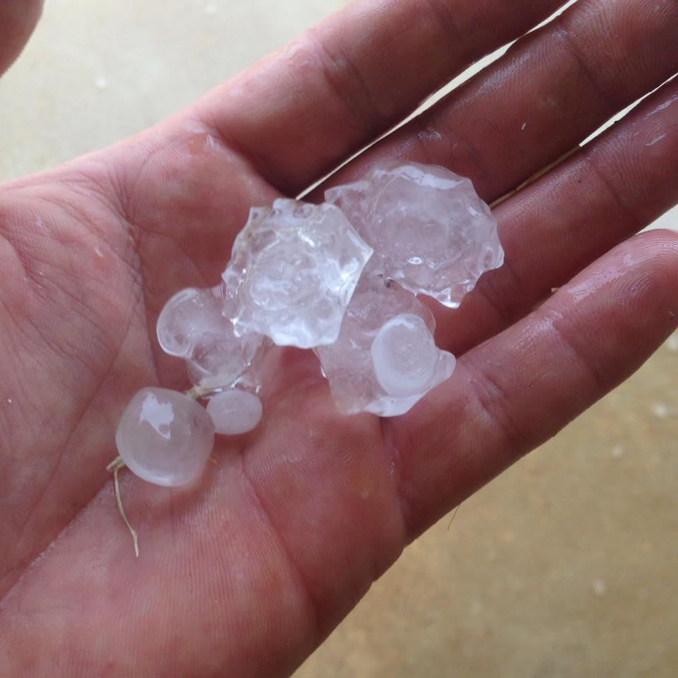 Jason shows some large hail.