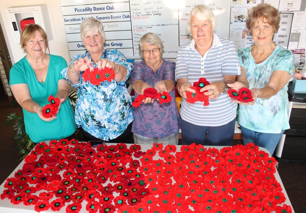 Members of the QEII Senior Centre's Knitters and Crotchet group, Perdita Kellett, Diana Keighram, Pat Parker, Audrey Varley and Jan Macey.
