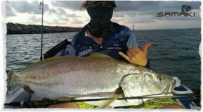 Korie with his Second Mulloway at 15kgs that 2 from 2