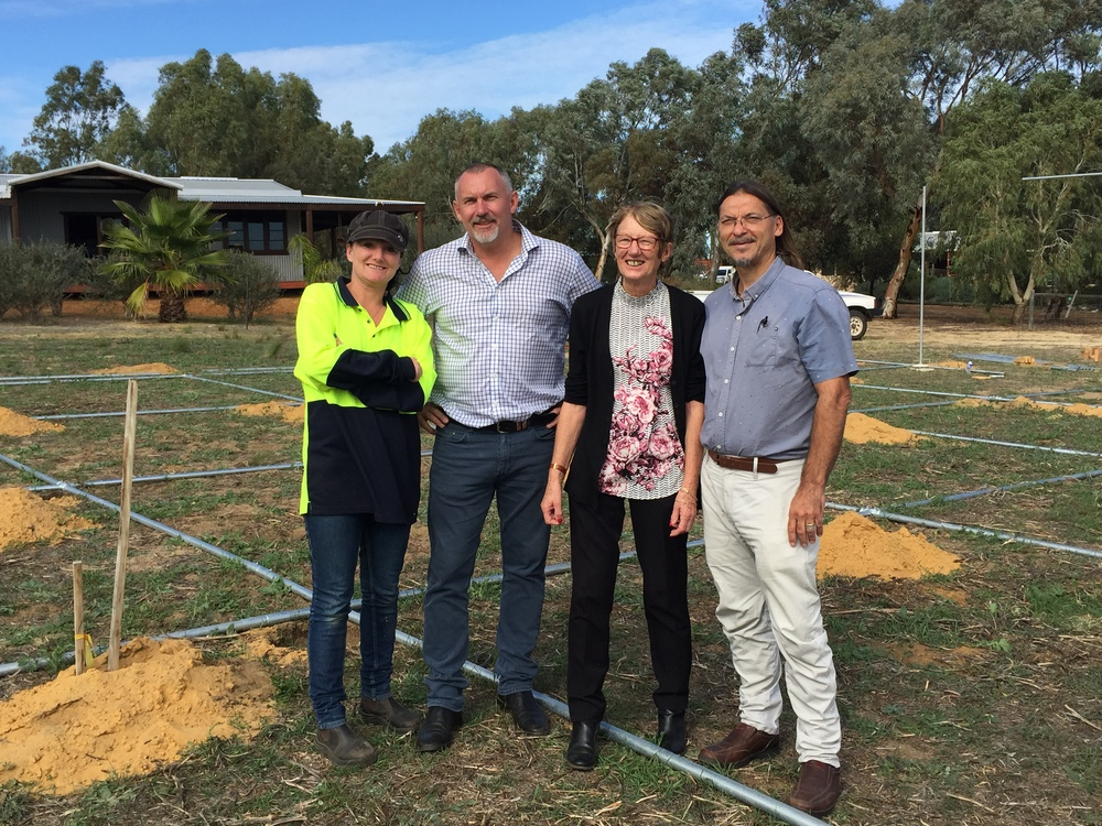 Hope Springs Community Farm – Left to Right: Lucy, Hon Paul Brown MLC, Lesley Evans and Larry Williamson