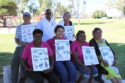 The poster was created by the language centre as a resource to preserve the disappearing Nhanda language, with the invaluable help of Nhanda woman, Colleen Drage and her father, Clayton Drage.  A very happy band of people, pictured above, helped launch the poster; at rear, Jacko Whitby, Godfrey Simpson, Jenny Clayton, front, Jenny Kniveton-Gregory, Rosie Sitorus, Leeann Merritt and Colleen Drage.