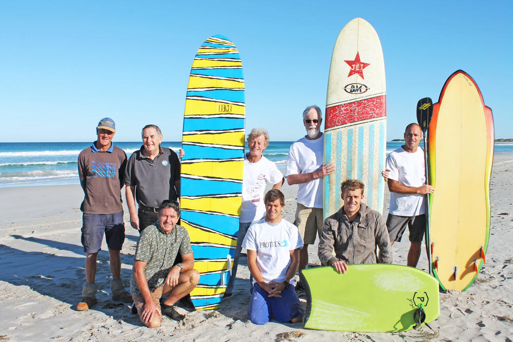 Surf's up: (Back) Dave Williams, City of Greater Geraldton Mayor Ian Carpenter, Bruce Montgomery, Brian Hood, Ben Mardon, (Front) Sam Salmond, Danny Williams and Rory Nelson.