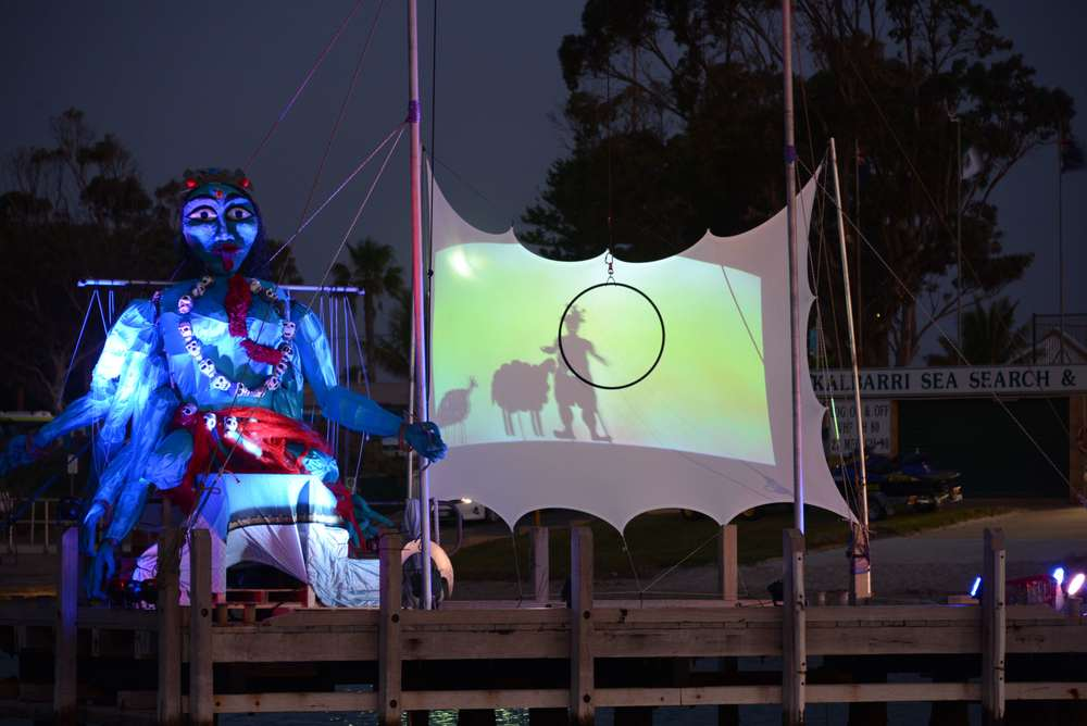 A giant puppet that Kalbarri residents helped make and operate under the guidance of a professional artist at last year's Kalbarri Zest Festival.