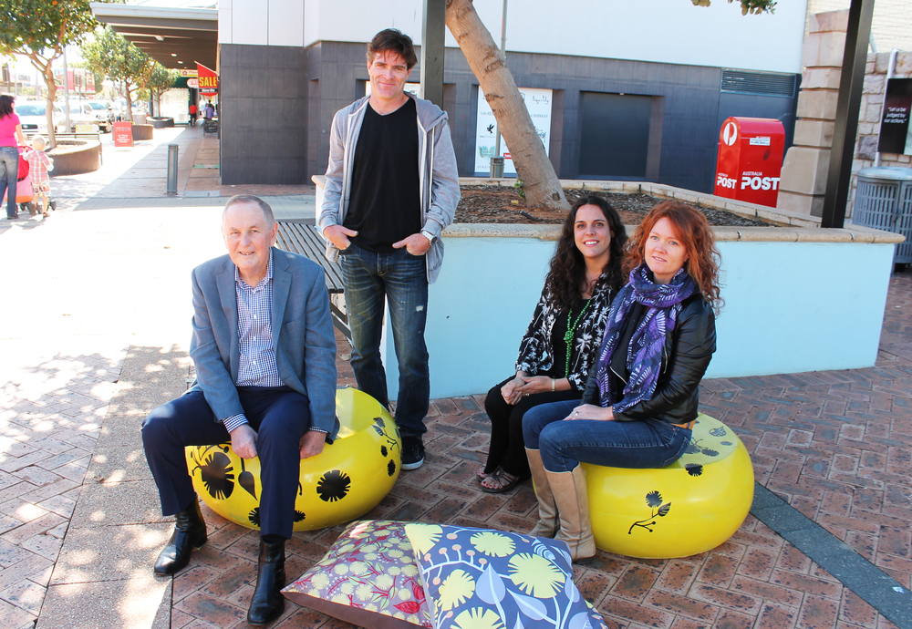 Mayor Ian Carpenter with Craig Maynard from F#Designs and Helen Ansell and Peta Riley from Mulla Mulla Designs.