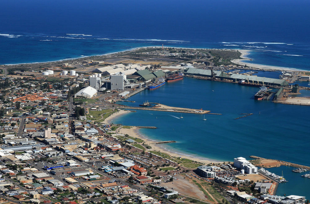 An aerial shot of Geraldton's CBD, Marina, Foreshore and Point Moore.