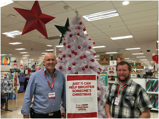 Geraldton Store Manager, Mitch Baker, and Garth de Kock, Operations Manager at Lighthouse Church launch the Target and Uniting Church Christmas Appeal Campaign