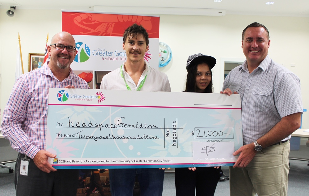City of Greater Geraldton CEO Ken Diehm, headspace Manager Nick Duigan, headspace Youth Reference Group member Katrina Slater and Mayor Shane Van Styn.