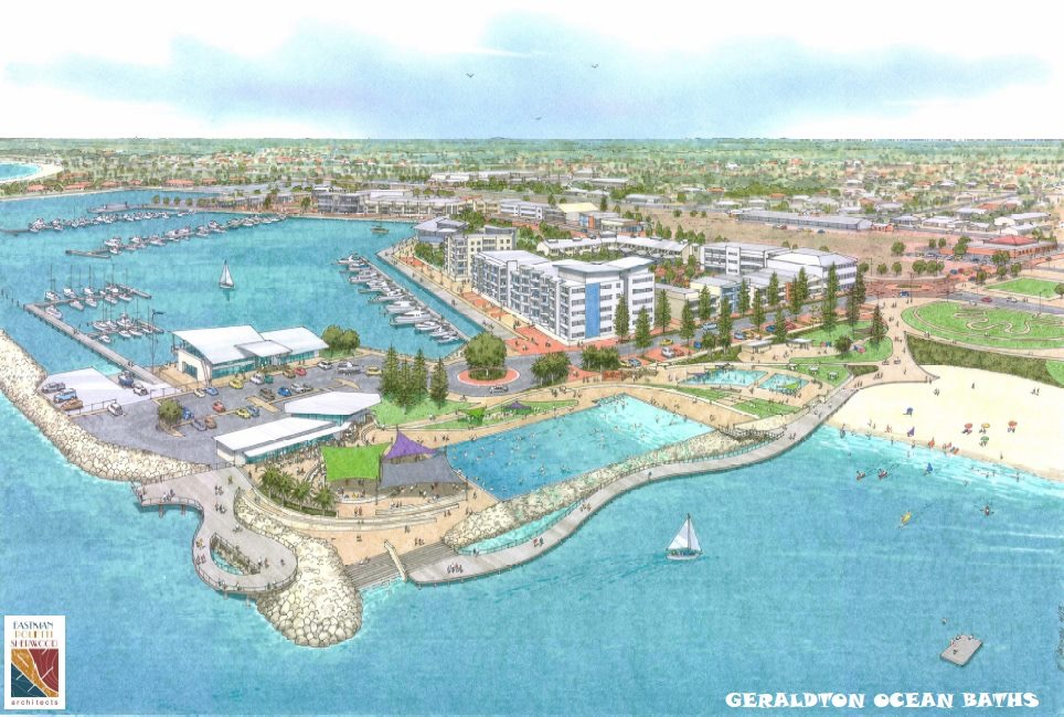 An artists rendition of what the Geraldton Ocean Baths might look like https://www.facebook.com/GeraldtonOceanBaths/