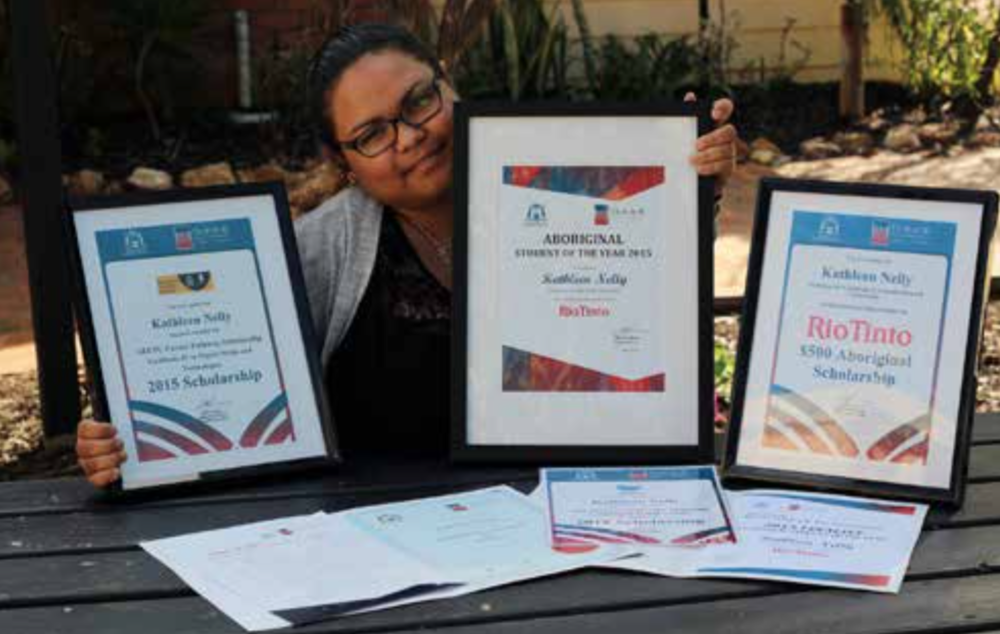 Kathleen Nelly with her Aboriginal Student of the Year award – and others she has earned over the past two years!