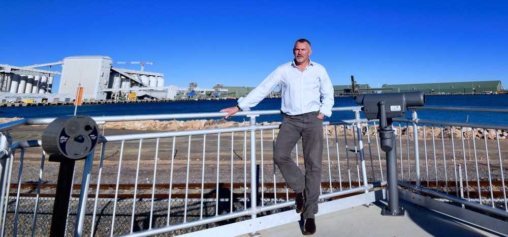 Paul Brown MP with Geraldton Port in the background.
