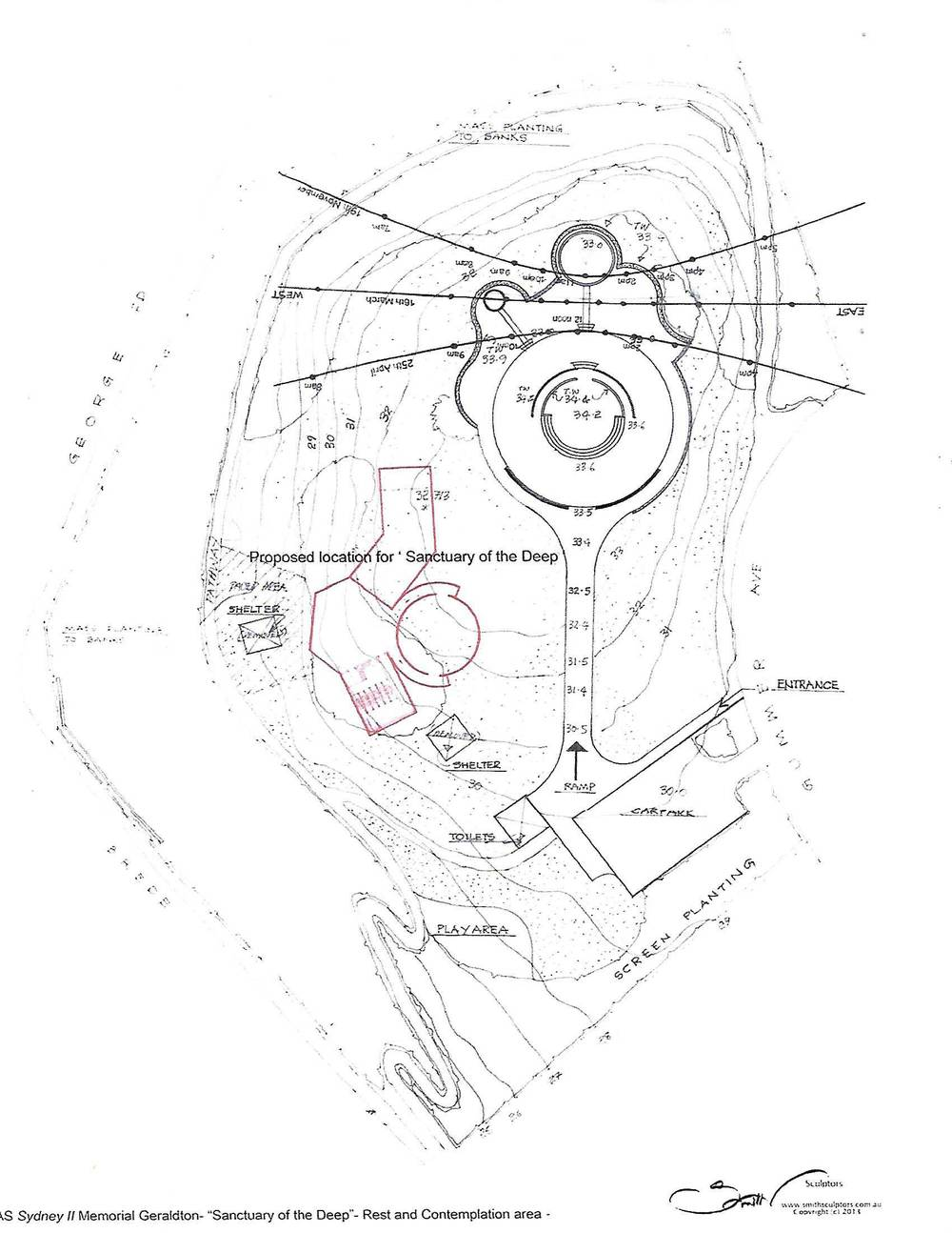 Plan of layout of HMAS II Memorial