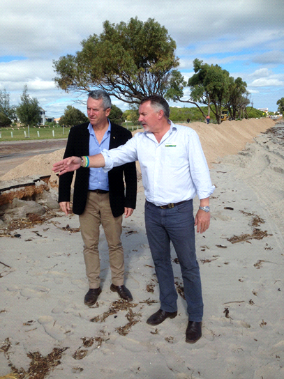 Paul Brown MP and Minister Terry Redman inspecting coastal erosion damage at Drummonds Cove