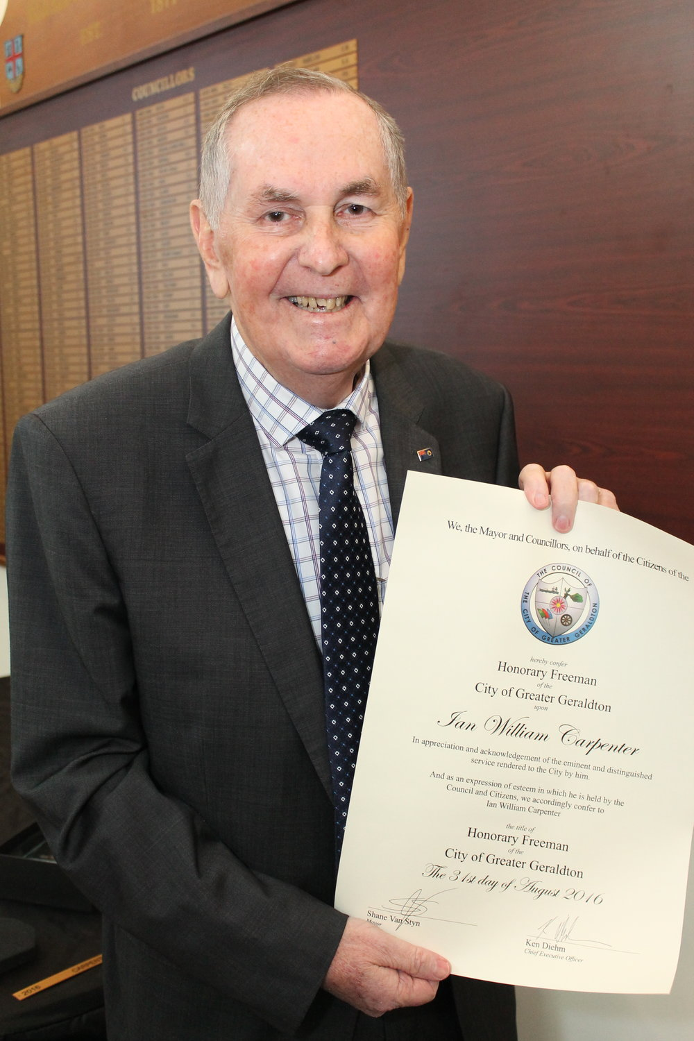 Mr Ian Carpenter has been named an Honorary Freeman of the City of Greater Geraldton.