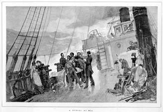 A burial at sea. The Illustrated London News, November 1880 Courtesy State Library of Victoria