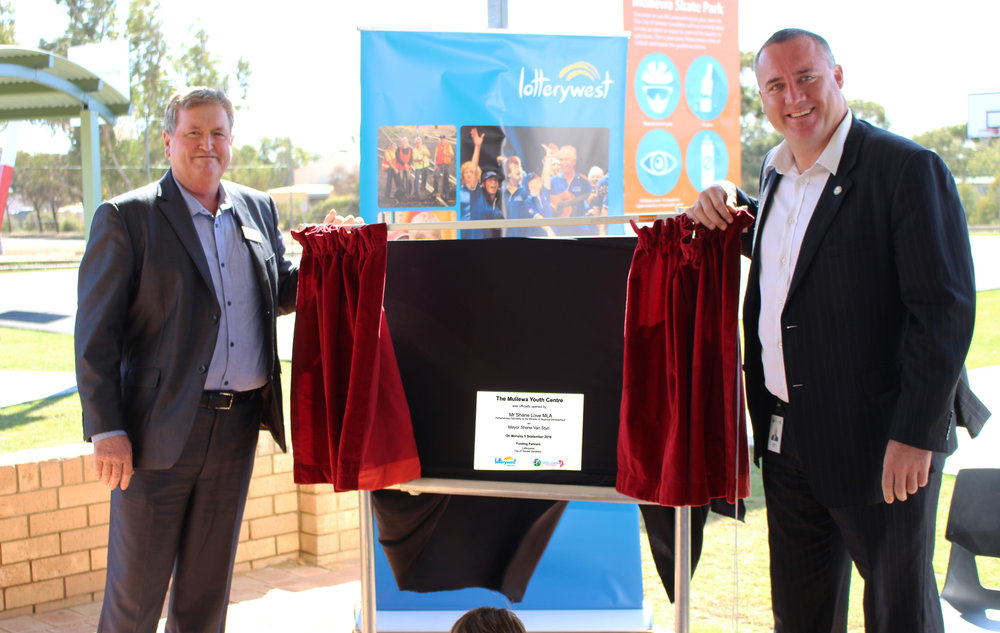 Shane Love MLA for Moore and Mayor Shane Van Styn officially open the Mullewa Youth Centre.