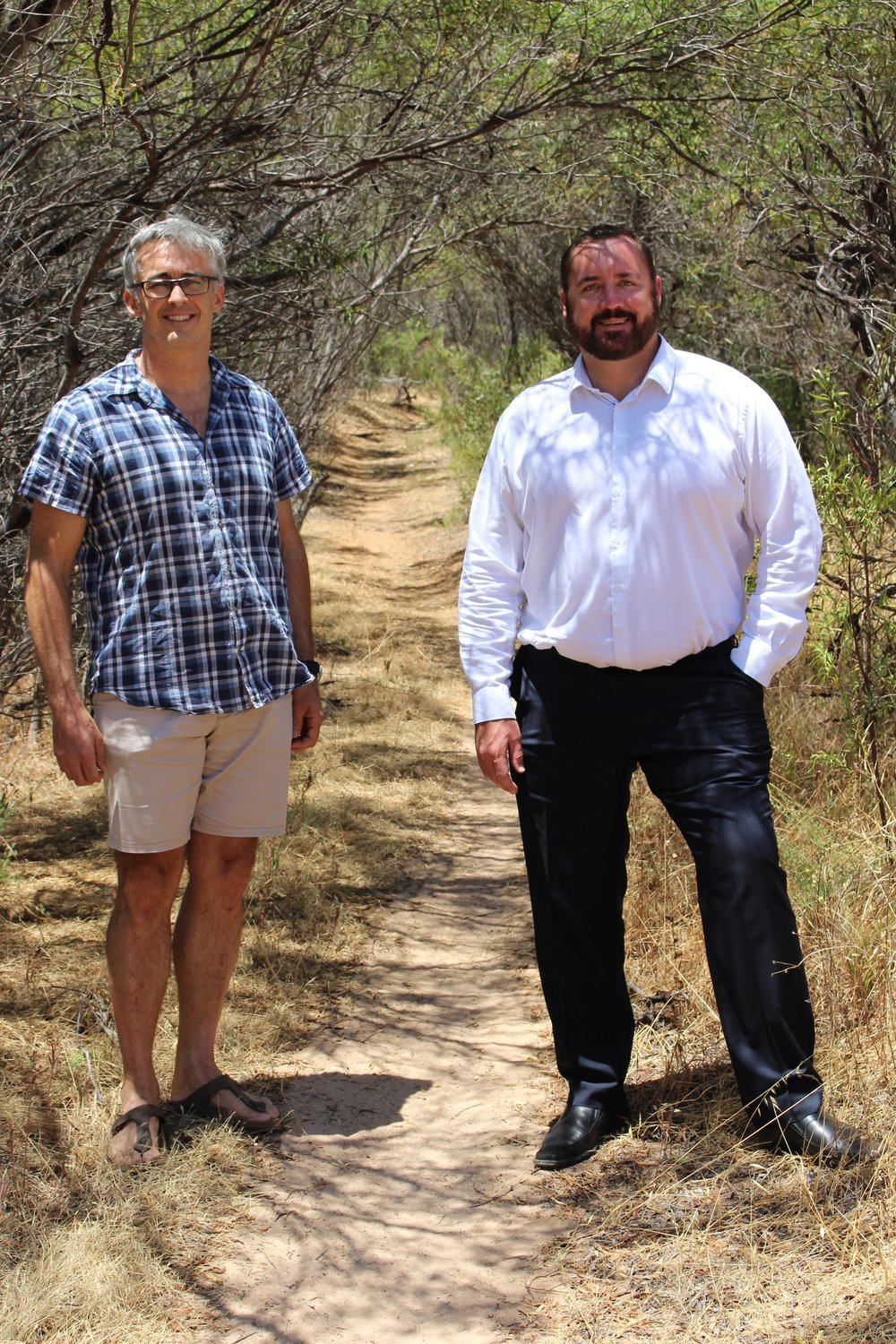 Geraldton Mountain Bike Club President Paul Spackman and City of Greater Geraldton Mayor Shane Van Styn at the existing mountain bike trail in Chapman River Regional Park which could be formalised as part of the City's Mountain Bike Master Plan.
