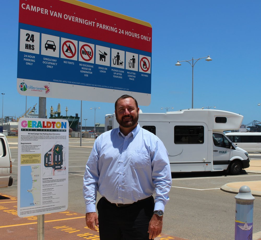 City of Greater Geraldton Mayor Shane Van Styn on location at the Francis Street carpark where free 24hr free overnight parking is available for campervans and self-contained RVs.