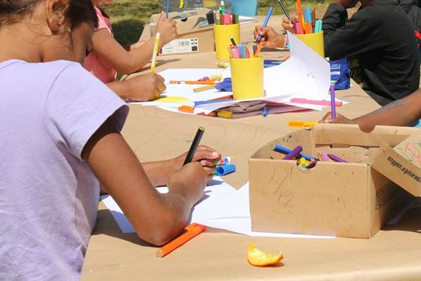 Children participating in art and craft at the Spalding Family Centre in the October school holidays.