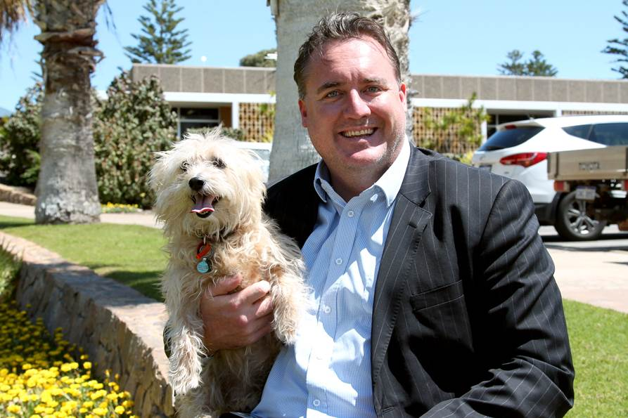 Mayor Shane Van Styn and the Mayor Pooch, Bella.