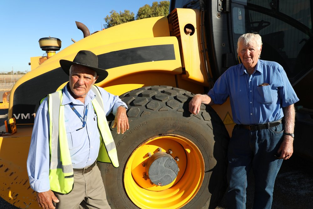 Natale Iaria (left) and Jimmy Giles will miss driving 'dozers' and gravel trucks now that they've retired from the City of Greater Geraldton.