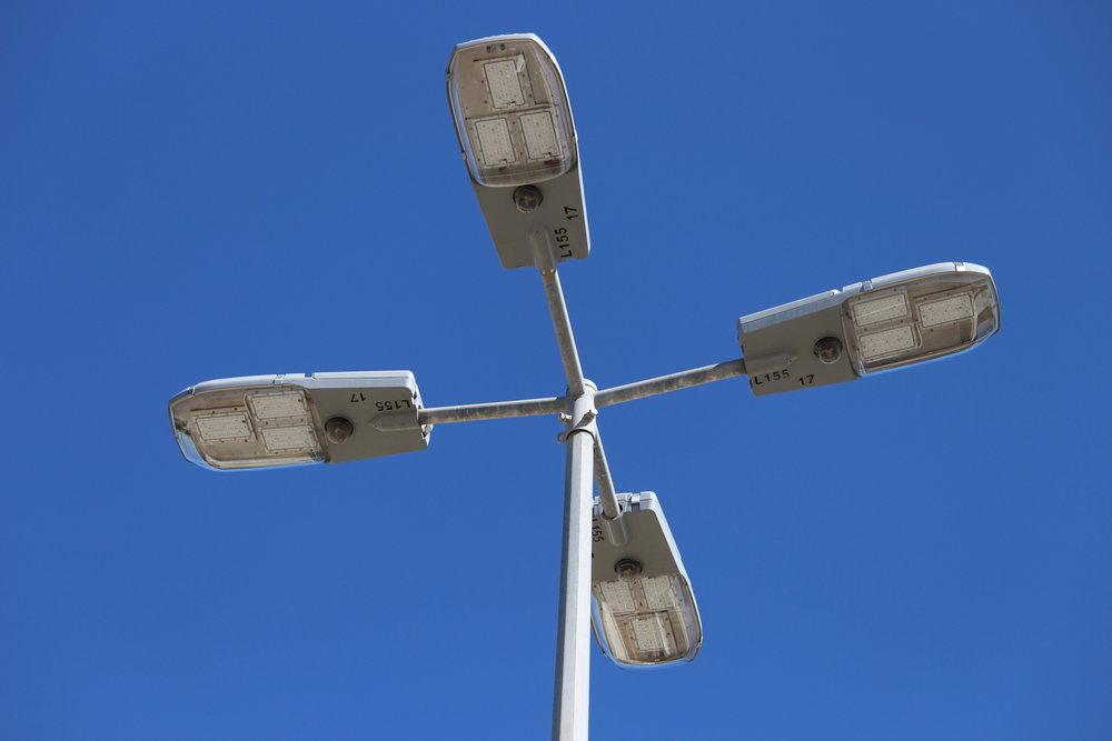 New LED light fixtures at the Eighth Street sports precinct carpark.