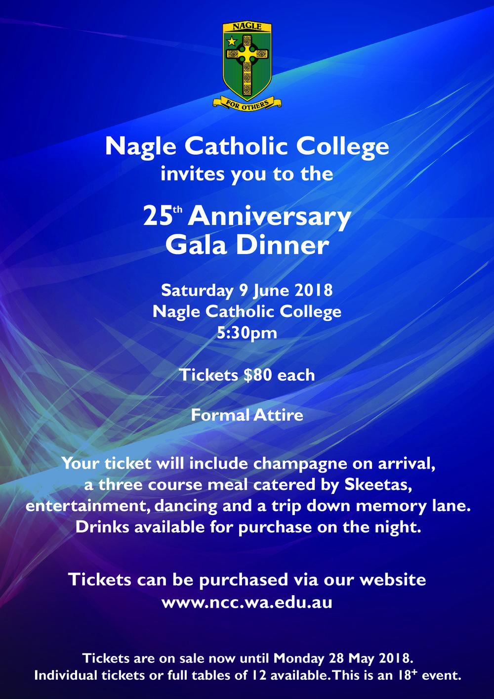 Nagle Catholic College 25th Anniversary Gala Dinner Everything