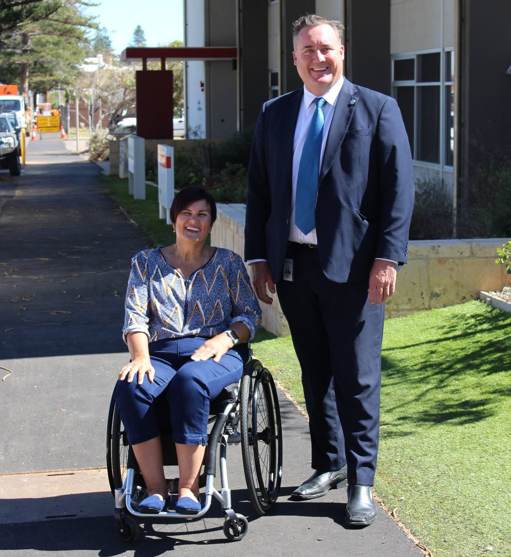 City of Greater Geraldton Mayor Shane Van Styn (right) and Disability Services Commission Count-Me-In Ambassador in the Midwest Chris Kerr, check out the recently repaved footpath on Sanford Street which greatly improves accessibility to the buildings and properties.