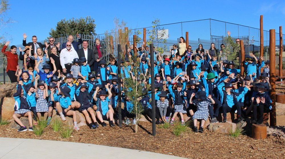 Wandina Primary School students celebrate the officially opening of the Derna Park Nature Playground, which was constructed in partnership by the school and the City of Greater Geraldton.