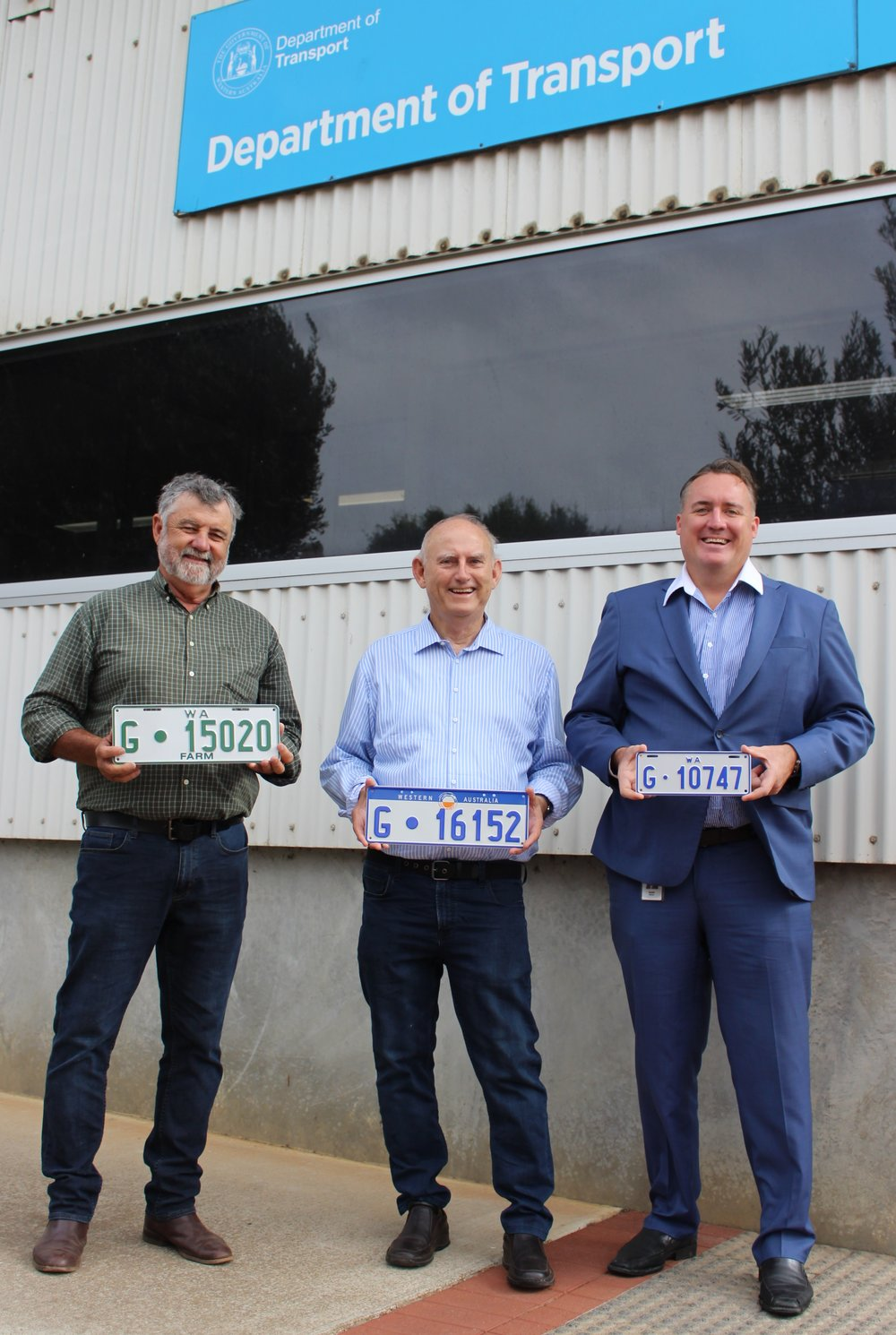 City of Greater Geraldton Councillor Jerry Clune (from left), Agricultural Region MLC Laurie Graham and Mayor Shane Van Styn with reintroduced 'G' plates.