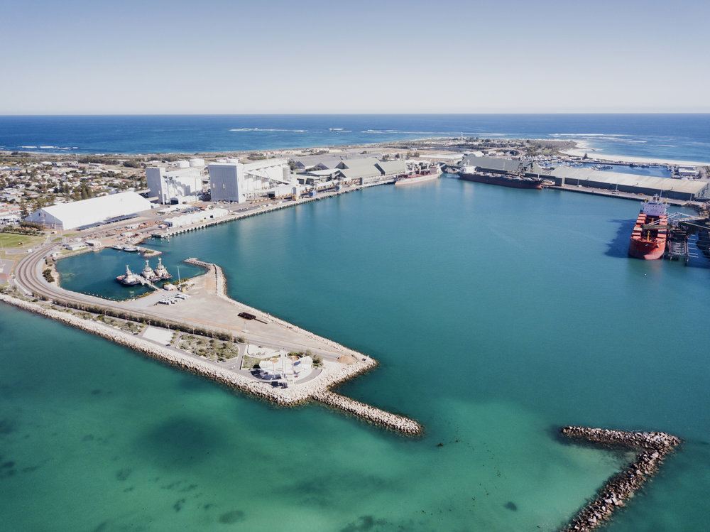 Aerial shot of the Port of Geraldton  Credit: Joshua Miles