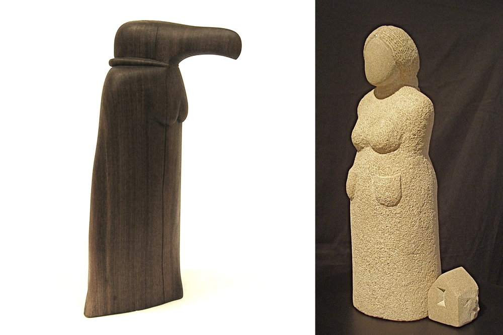 "Images: L to R, Donna Dodson, Condorita, 2013  walnut 23"" tall; Nora Valdez, Set to Go 2012 Indiana Limestone 17""x6""x7""."