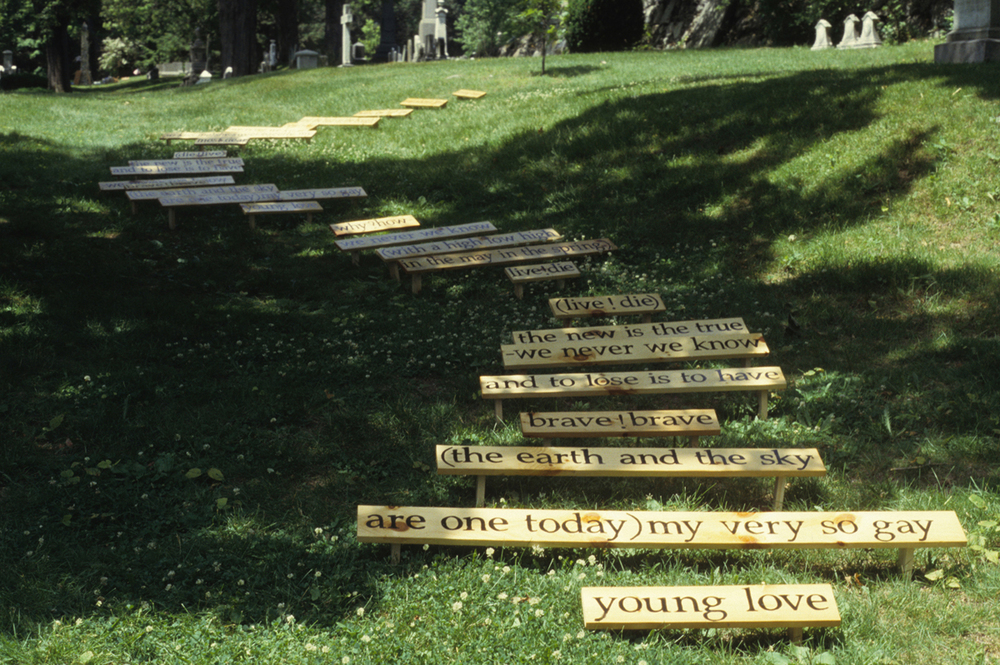 "Caroline Bagenal ""Poems"" Forest Hills Cemetery, 2004, wood, paint, 12"" x 80Feet x 15"""