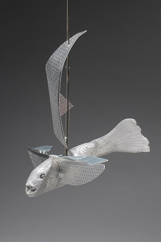 "Flying Fish, 2014, cast aluminum, sheet metal,fishing rod, 14""x14""x16"""