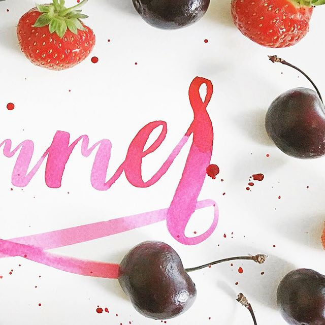 Juicy summer: 2 of 2 🍒🍓#typography #brushlettering #calligraphy