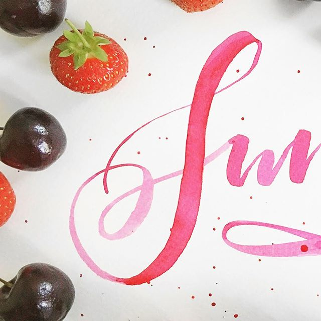 Juicy summer: 1 of 2 🍒🍓#typography #brushlettering #calligraphy