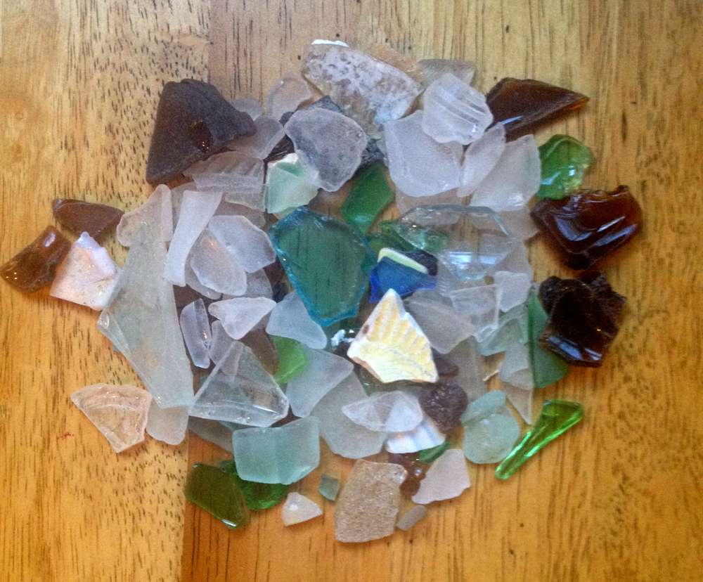 Pieces of the raw glass she had collected over the years.