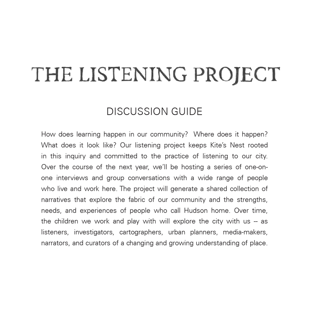 Our Discussion Guide, with information about the project, the interviews the questions we ask, etc.