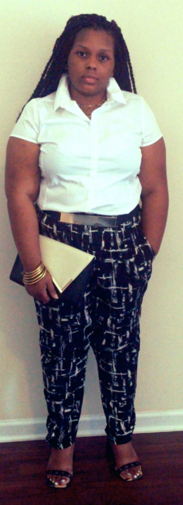 Charity  in the first look. Pants, necklace and belt -  Forever 21 . Blouse -  JCPenny . Sandals -Bare Feet.Clutch -  Aldo .