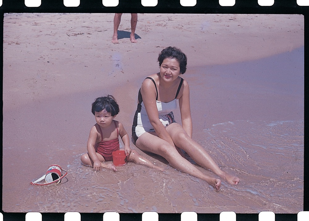 Mom and Grandma at the beach, 1950s