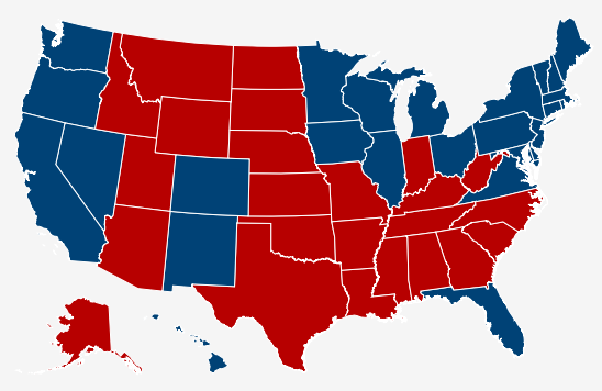 Map of US Presidential Election Results by State, 2012