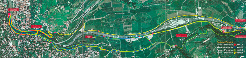Die Lauf-Routen in Meran.  Klicken Sie auf das Bild zum vergrößern und download.