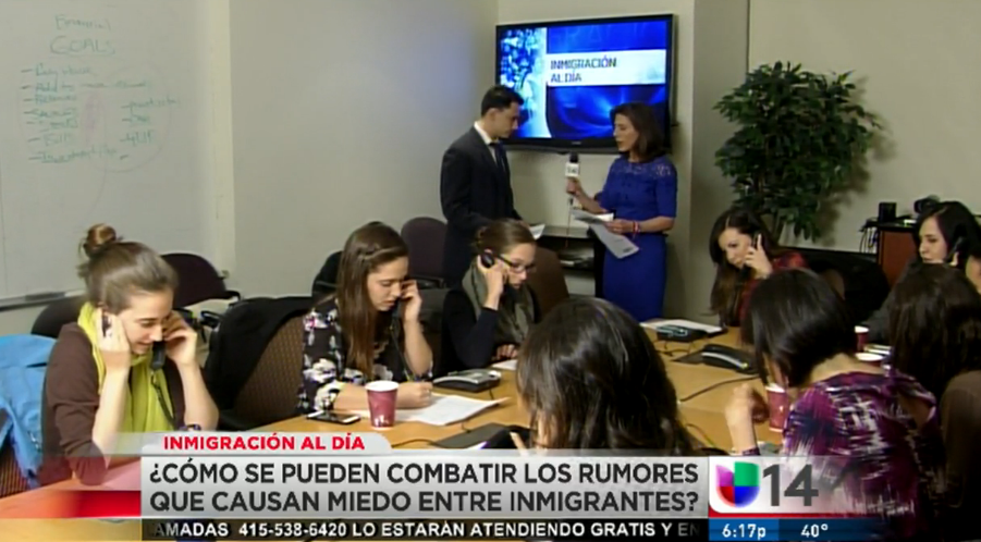 Pangea attorneys and volunteers providing know your rights education with Univision 14 (2015)