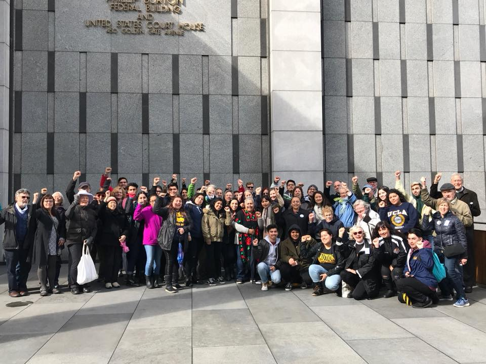 Community members from Faith in Action, RISE, California Immigrant Youth Justice Alliance, the Immigrant Liberation Movement, and others out in support of Floricel's hearing at the Federal District Court in Northern California (San Francisco, March 13, 2017)