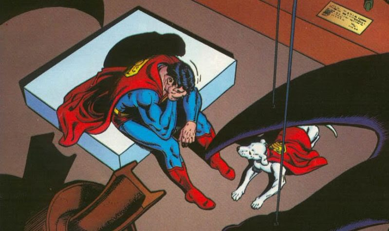 "Superman weeps, from ""Whatever Happened to the Man of Tomorrow"" by Alan Moore, Curt Swan, & George Perez."