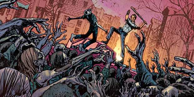 Cover detail from  The Walking Dead  #100, art by Bryan Hitch. Robert Kirkman/Image Comics.
